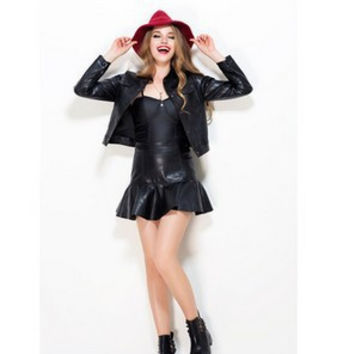 PU Leather Bottom & Top Dress Skirt Jacket [6338963265]