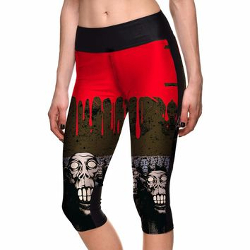 Capri Pants Women's 7 Point Pants Women's Halloween Blood Drop Skull Digital Print High Waist Side Pocket Phone Pants