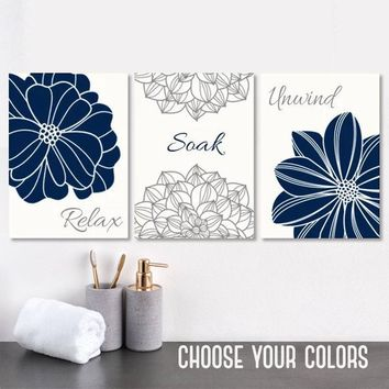 NAVY GRAY BATHROOM Wall Art, Canvas or Print, Navy Gray Flower Bathroom Decor, Flower Bathroom Quote Wall Decor, Relax Soak Unwind, Set of 3