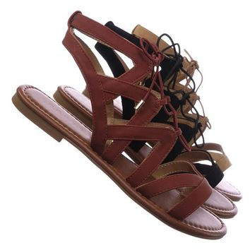 Convoy Roman Gladiator Strappy Elastic Lace Up Cutout Sandals, Women Shoes