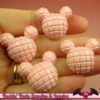 Pink WAFFLE MOUSE HEAD Resin Decoden Flatback Kawaii Cabochons 25x22mm