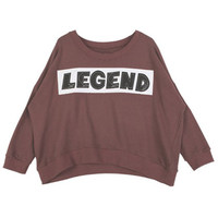 ROMWE | LEGEND Print Burgundy Loose Sweatshirt, The Latest Street Fashion