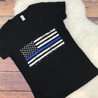 Thin Blue Line Women's V Neck Shirt • Screen Printed • Support • Law Enforcement • Distressed • Flag • Stars • Family • Officer • Police