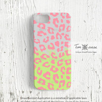 Pink leopard iPhone 4 case, leopard iPhone 4s case, leopard iPhone 5 case, 3d print, retro pastel neon leopard iphone 4 / 4s / 5(c83)