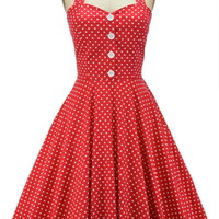 50s Inspired Miss Mabel POLKA DOT Pinup HALTER TOP Sun Dress - FIVE COLORS!