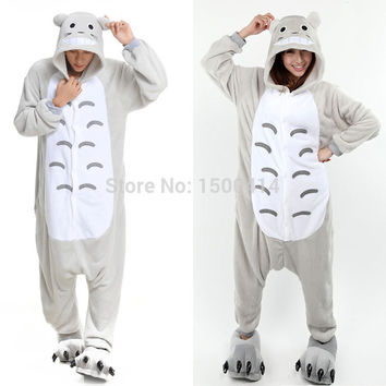 Cartoon Anime Unisex Adult Cosplay Costume My Neighbor Totoro Onesuit Pajama For Halloween Carnival Masquerade Party (No Slipper)