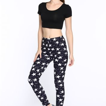 Womens Star Print Leggings One Size