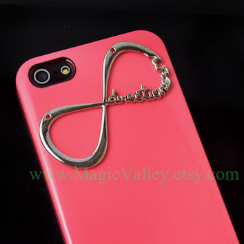 Iphone 5 Case,  Hot Pink Hard Iphone Case with Infinity Direction, 1D Directioner