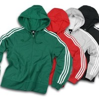 Adidas Womens Athletic 3-Stripes Zipped Hoodie, Hooded Sweatshirt