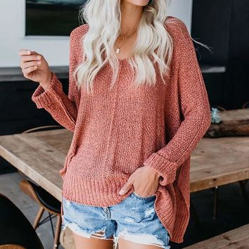 Loose V Neck Pure Color Batwing Sweater