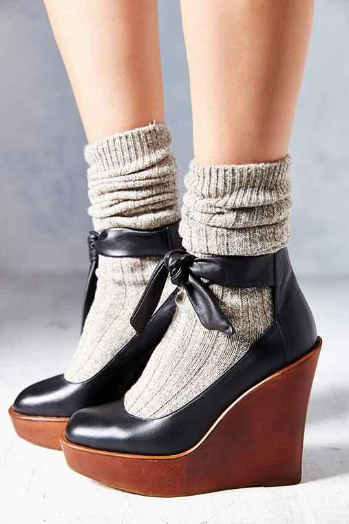 d8bf290bd08 Kimchi Blue Sophie Ankle-Tie Wedge- Black from Urban Outfitters