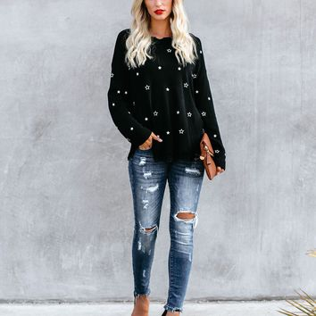 Co-Star Embroidered Distressed Sweater - Black