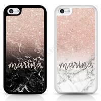 PERSONALISED Marble GLITTER TPU RUBBER Shockproof cover case for iPhone Samsung | eBay