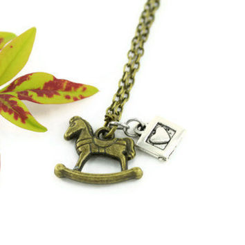 Bronze Rocking Horse Charm Necklace, Silver Heart Toy Block Charm, Whimsical Toy Charms, Baby Shower Jewelry
