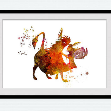 Lion king print Pumba watercolor poster Disney watercolor decor Disney poster art Lion king decor Home decoration Nursery room wall art W446