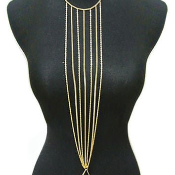 Goldtone Multi Chain Center Drop Body Chain