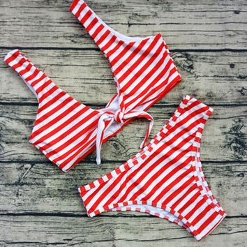 Sexy Pure Color Stripe Low Chest Knot Print Two Piece Bikini Swimsuit Bathing 6-Color -4