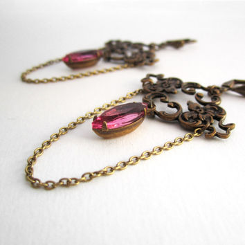 Chandelier Earrings - Victorian Jewelry - Pink Magenta - Art Nouveau Charm