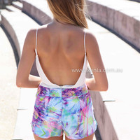 EVEN DEEPER SKORTS , DRESSES, TOPS, BOTTOMS, JACKETS & JUMPERS, ACCESSORIES, 50% OFF SALE, PRE ORDER, NEW ARRIVALS, PLAYSUIT, COLOUR, GIFT VOUCHER,,SHORTS,Print,Purple,MINI Australia, Queensland, Brisbane