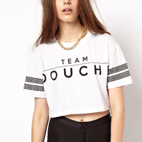 Criminal Damage Crop T-Shirt With Team Douche Print