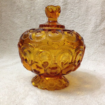 "Vintage L E Smith Glass Moon and Stars 7 1/2"" Tall Amber Covered Candy Dish"