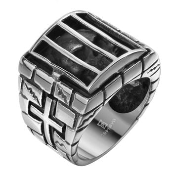Ghost Era - Caged Skull Ring - Silver