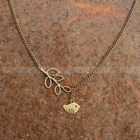 Bird necklace with leaves pendant- Vintage charm necklace