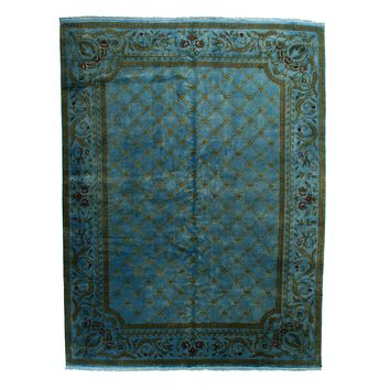 9x12 Overdyed Lattice Floral Light Blue Handknotted Area Rug Silk Wool 1135
