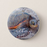 """Relax"" quote Hawaiian sea turtle close-up photo Button"