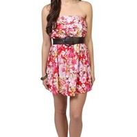 strapless floral print dress with ruffle and tiered skirt