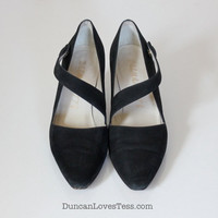Vintage Black Suede Shoes / Delmanette Mary Janes / Strappy High Heels / Crossover Slip Ons