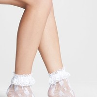 Women's Betsey Johnson 'Shortie' Lace Trim Fishnet Socks - White