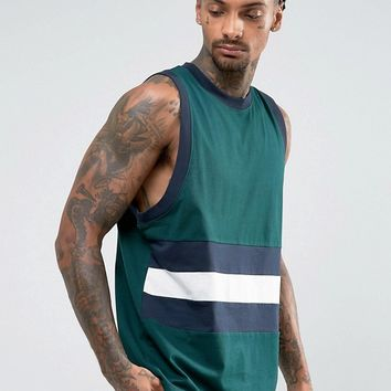 ASOS Oversized Tank With Contrast Retro Panelling In Green at asos.com