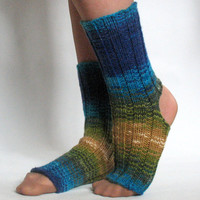 Yoga Socks Dance Pilates Ballet Blue Turquoise Azure Beige Green Leg Warmers ankle warmers dancer
