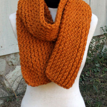 Loom Knit Scarf - Orange/Rust Wool Blend