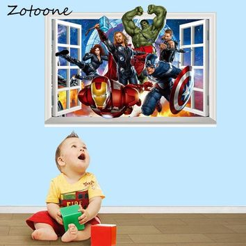 ZOTOONE The Avengers Movie Wall Stickers Fake Window Super Hero Iron Man Hulk Vinyl Stickers for Kids Rooms Decoration Posters