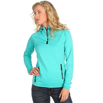 Women's Cowgirl Tuff Blue Long Sleeve 3/4 Zip Jacket