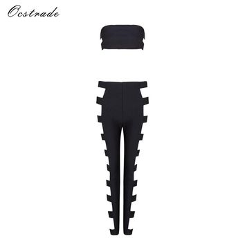 Ocstrade Two Piece Set Crop Top and Pants Summer Runway 2017 Women Balck Metals Sexy Cut Out Rayon 2 Piece Bandage Set