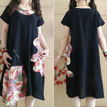 Mini black dress/ Long Patchwork Linen tunic Dress