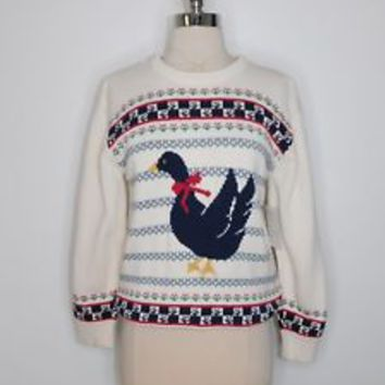 vintage 80s womans cream geese duck knit casual ugly sweater size medium L38-33