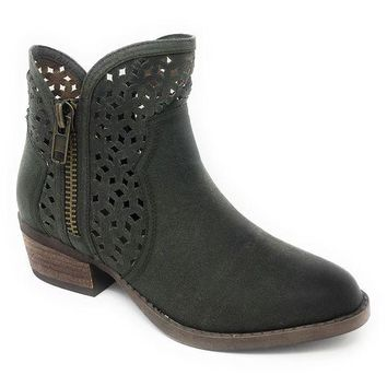 ICIKAB3 Not Rated Etta Green Cut-Out Ankle Booties