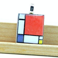 Piet Mondrian Composition II in Red, Blue, and Yellow Wood Scrabble Tile Pendant