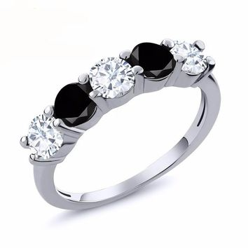 0.76 Ct Round White Created Moissanite Black Diamond 925 Sterling Silver Ring