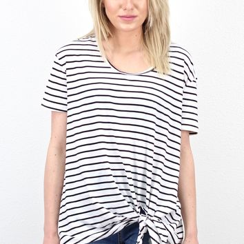 Short Sleeve Striped Knot Top {White}