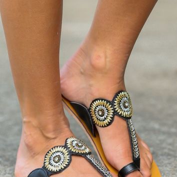 Kissed By The Sun Black Beaded Sandals