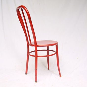 Vintage Red Metal Chair, Ice Cream Chair, Vintage Ice Cream Parlor Chair, Retro Bistro Chair
