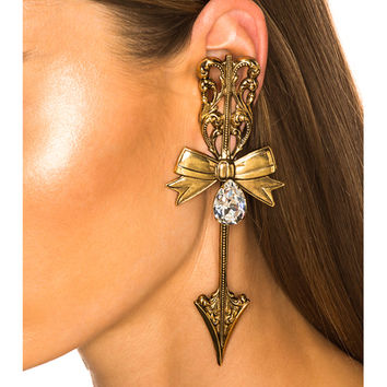 Rodarte Bow & Arrow Earrings in Antique Gold | FWRD