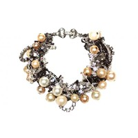 CRYSTAL, CHAINS, MULTI SAFETY PINS AND PEARLS SMALL BRACELET - Tom Binns