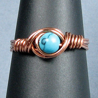 Turquoise Copper Ring Choice of 56 Crystals and Gemstones