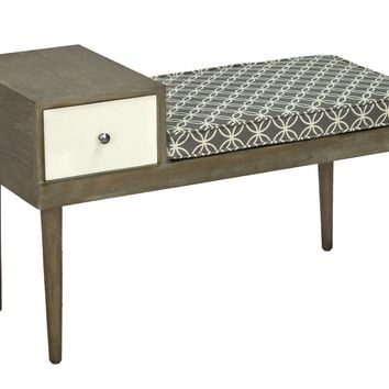Stevie Transitional Table/Bench Salted Caramel/Gray & White Fabric